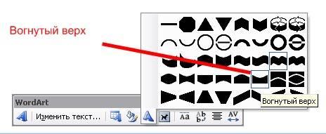 WordArt Откроется выбор силуэта надписи. Я выбрала «Вогнутый верх».