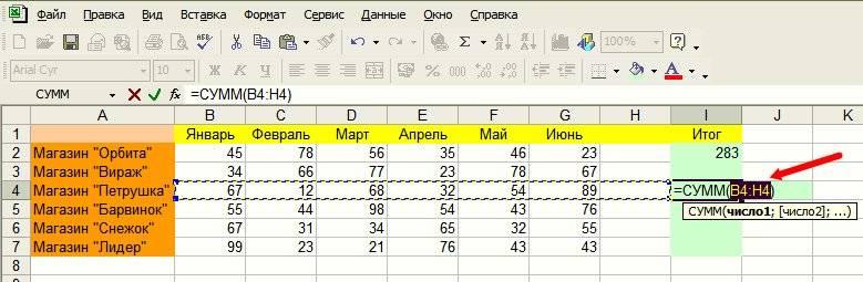 В выделенной ячейке появится формула, в которой указан диапазон суммирования;
