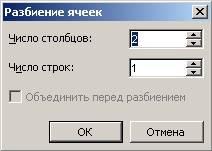 В следующем диалоговом окне установите количество, необходимых столбцов и строк и нажмите кнопку «ОК».