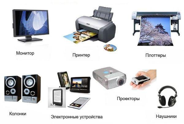 К устройствам вывода информации относятся: