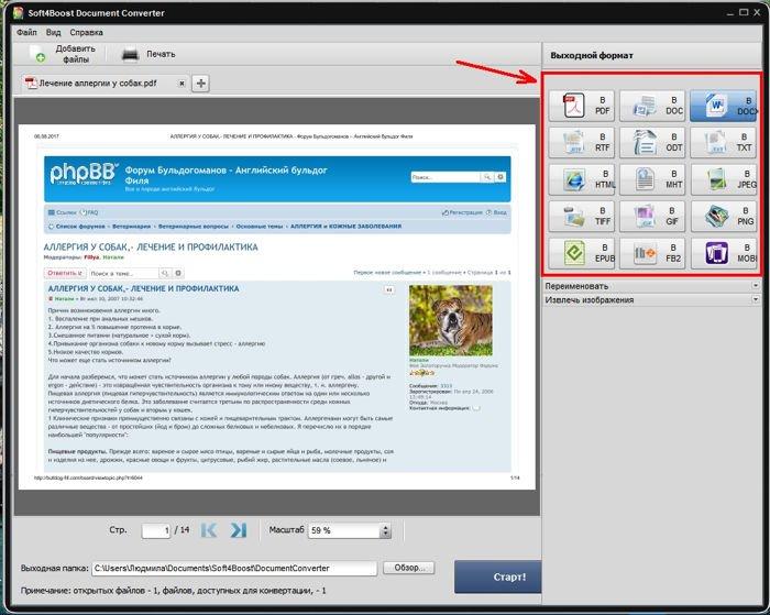 Справа выберите формат, в который вы хотите преобразовать файл.