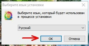 Программа автоматически начинает установку на языке операционной системы.
