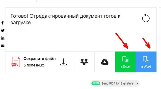 После этого будут доступны еще две кнопки для преобразования файла в Exсel или Word.