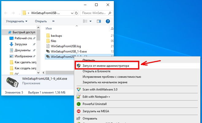запускаете файл WinSetupFromUSB_1-9_x64.exe