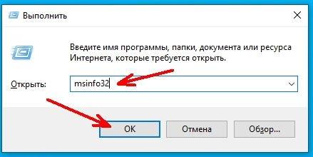 Введите в текстовое поле команду msinfo32