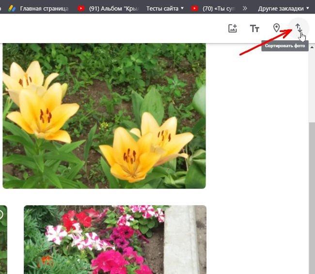 Там же имеется кнопка с двумя разнонаправленными стрелками «Сортировать фото»