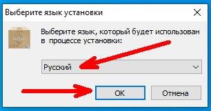 После запуска установочного файла появится окошко «Выберите язык установки»